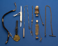 Lot Of Eight - Chains & Fobs Including One 14k Gold Panel Pen Knife