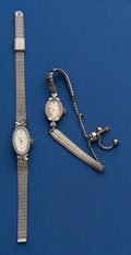 Timepieces:Wristwatch, Bulova & LeCoultre 14k White Gold 214 Wristwatches With Metal Bands. ... (Total: 2 Items)