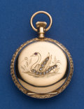 Timepieces:Pocket (post 1900), Elgin 14k Gold 0 Size With Ruby & Diamond Swan Pocket Watch. ...