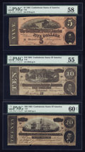 Confederate Notes:1864 Issues, T67 $20 1864.. T68 $10 1864.. T69 $5 1864.. ... (Total: 3 notes)