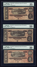 Confederate Notes:1864 Issues, T68 $10 1864. Three Examples.. ... (Total: 3 notes)