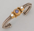 Silver Smalls:Other , A MIXED METAL, PEARL AND COLORED STONE BRACELET . Reve, Arizona,circa 2000. Marks: REVE, 14K, SILVER . 2-1/2 inches wid...