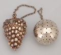 Silver Smalls:Other , TWO AMERICAN SILVER TEA BALLS . Webster Company, North Attleboro,Massachusetts, circa 1900. Marks to ball: WC (conjoine...(Total: 2 Items)