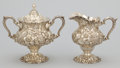 Silver & Vertu:Hollowware, AN AMERICAN SILVER FLORAL REPOUSSÉ COVERED SUGAR BOWL AND CREAMER . The Stieff Company, Baltimore, Maryland, circa 1926. Mar... (Total: 3 Items)
