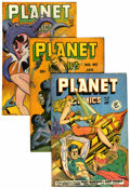 Golden Age (1938-1955):Science Fiction, Planet Comics #40, 52, and 58 Group (Fiction House, 1946-49)Condition: Average GD.... (Total: 3 Comic Books)