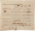 """Autographs:Military Figures, Voluntary Enlistment of an Irishman in the Army of the Texas Republic Signed """"William P. Miller / Col. Com. 2nd Re..."""