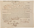 "Autographs:Military Figures, Voluntary Enlistment of an Indianan in the Army of the TexasRepublic Signed by officer ""James C. Allen"" and AlvinPerki..."
