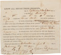 """Autographs:Military Figures, Voluntary Enlistment of a Kentuckian in the Army of the Texas Republic Signed by """"William P. Miller / Col. Com. 2nd ..."""