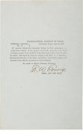 "Autographs:Military Figures, Confederate Texas Imprint: General Orders No. 11 signed byAssistant Adjutant General F. W. Emery. One page, 5"" x 8"",Galves..."