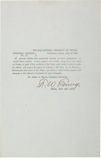 "Confederate Texas Imprint: General Orders No. 11 signed by Assistant Adjutant General F. W. Emery. One page, 5"" x 8..."