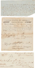 Miscellaneous:Ephemera, Confederate Texas Ephemera, consisting of three items: (1) Alegal-sized envelope, stamped April 8, 1862, and addressed to B...(Total: 3 Items)