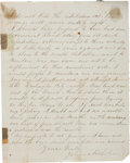 """Autographs:Military Figures, James Nicholson Autograph Civil War-Dated Letter Signed. Two pages, 6.5"""" x 8"""", Houston, August 11, 1864, referring to a woun..."""