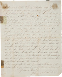 "James Nicholson Autograph Civil War-Dated Letter Signed. Two pages, 6.5"" x 8"", Houston, August 11, 1864, refer..."