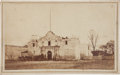 Photography:CDVs, An Early Carte de Visite of the Alamo showing men and a wagon team near the chapel's front doors. Undated, thoug...