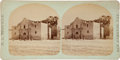 Photography:CDVs, Stereoview of the Alamo by H. L. Bingham, showing the famous façade. Undated with a historical vignette about the Battle of ...