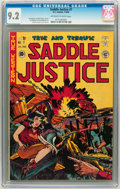 Golden Age (1938-1955):Western, Saddle Justice #7 (EC, 1949) CGC NM- 9.2 Off-white to white pages....