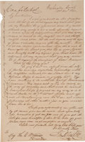 "Autographs:Military Figures, Sam Houston Autograph Letter Signed. One page, 7.75"" x 13"",Washington County [Texas], December 2, 1841. Eleven days before ..."