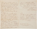 Autographs:Military Figures, Robert E. Lee Autograph Letter Signed and Initialed to CaptainNathan G. Evans. Four pages including integral address leaf, ...
