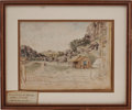 "Autographs:Military Figures, Arthur Tracy Lee Watercolor ""Capt. Jordan's Quarters."" Finished watercolor on paper showing a small wooden cabi..."