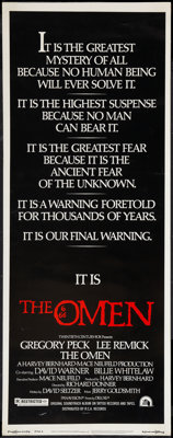 "The Omen (20th Century Fox, 1976). Insert (14"" X 36""). Horror"