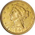Liberty Half Eagles: , 1847-C $5 AU53 NGC. Variety 9-E. Luster is particularly prominentacross the reverse legends and eagle. This pale gold piec...