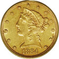 Liberty Half Eagles: , 1884-CC $5 AU58 PCGS. Natural green and honey-gold color grace thesurfaces of this lustrous near-Mint example. Just 16,402...