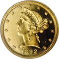 Proof Liberty Half Eagles: , 1892 $5 PR66 ★ Cameo NGC. The mintage of proof 1892 half eagles waslimited to 92 coins, and ...