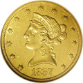 Liberty Eagles: , 1857-O $10 AU53 NGC. This yellow-gold representative has a goodcentral strike, although the deeply hubbed stars are genera...