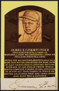 Baseball Collectibles:Others, Jimmie Foxx Signed Cut Signatures Hall of Fame Plaque Postcard Display....