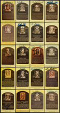 Baseball Collectibles:Others, Baseball Hall of Famers Signed Plaque Postcards Lot of 20....