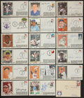 Baseball Collectibles:Others, Baseball Greats Signed First Day Covers Lot of 18....