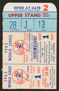Baseball Collectibles:Tickets, 1963 World Series Game 1 Ticket Stub - Koufax 15 Strikeouts....