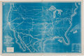 """Miscellaneous:Maps, U.S. Map Issued by the Commercial Herald and Market Review.Overall 35.75"""" x 24"""". The map is solid blue with..."""