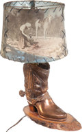 Antiques:Decorative Americana, Cowboy-Boot Lamp with W. D. Smithers-Inspired Shade. The base ofthe lamp - a spelter cowboy boot and spur with copper finis...