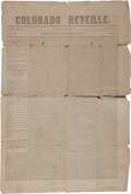 "Miscellaneous:Newspaper, The Colorado Reveille Newspaper, First Issue. Bastrop,Texas, four pages, 13.75"" x 20"", November 29, 1851, ""Vo..."