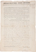 """Autographs:Statesmen, Coahuila y Texas: Partly Printed Land Grant Signed by RobertPeebles awarding land to John G. Robinson. 2pp. 8.5"""" x 12"""", Vil..."""