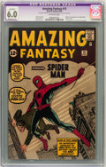 Silver Age (1956-1969):Superhero, Amazing Fantasy #15 (Marvel, 1962) CGC Apparent FN 6.0 Moderate (P) Off-white pages....