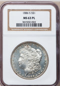Morgan Dollars: , 1886-S $1 MS63 Prooflike NGC. NGC Census: (98/91). PCGS Population(83/89). Numismedia Wsl. Price for problem free NGC/PCG...