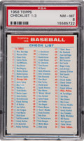 Baseball Cards:Singles (1950-1959), 1956 Topps Checklist 1/3 PSA NM-MT 8....
