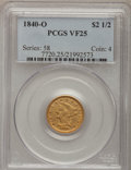Liberty Quarter Eagles: , 1840-O $2 1/2 VF25 PCGS. PCGS Population (4/71). NGC Census:(1/112). Mintage: 33,500. Numismedia Wsl. Price for problem fr...