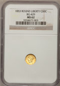California Fractional Gold, 1853 50C Liberty Round 50 Cents, BG-429, Low R.4, MS62 NGC. NGCCensus: (13/3). PCGS Population (40/9). (#10465)...