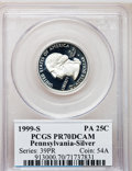 Proof Statehood Quarters, 1999-S 25C Pennsylvania Silver PR70 Deep Cameo PCGS. PCGSPopulation (89). NGC Census: (744). Numismedia Wsl. Price for pr...