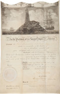 "Autographs:U.S. Presidents, John Adams Signed Scallop Top Ship's Passport for the ""ShipHarriet of New York.""..."