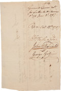 "Autographs:U.S. Presidents, George Washington Document Signed ""G:Washington."" Two pages, 7.75"" x 5.25"", [Mount Vernon], October 18, 1787. Only twent..."