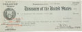 """Autographs:U.S. Presidents, Calvin Coolidge Presidential Paycheck Endorsed on the verso. Printed, 8.5"""" x 3.25"""", Washington, D.C., October 31, 1925, endo..."""
