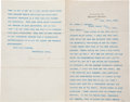 "Autographs:U.S. Presidents, Theodore Roosevelt Typed Letter Signed as governor of New York. Two pages, 9"" x 11.5"", Albany, New York, January 26, 190..."