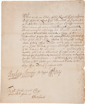 Autographs:Statesmen, Sir William Penn Document Signed. ...