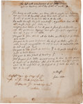 Autographs:Statesmen, John Eliot Autograph Document Signed, Witnessed by Governor JohnWinthrop. ...