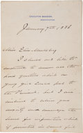 """Autographs:U.S. Presidents, Grover Cleveland Autograph Letter Signed as President. Two and onequarter pages on Executive Mansion letterhead, 5"""" x 8..."""