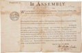 Autographs:Statesmen, John Morton Partly Printed Document Signed as Speaker of the Pennsylvania Provincial Assembly. ...